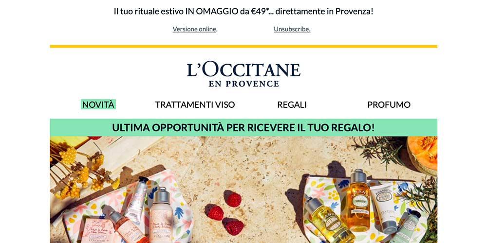 Header o intestazione della newsletter de l'Occitane